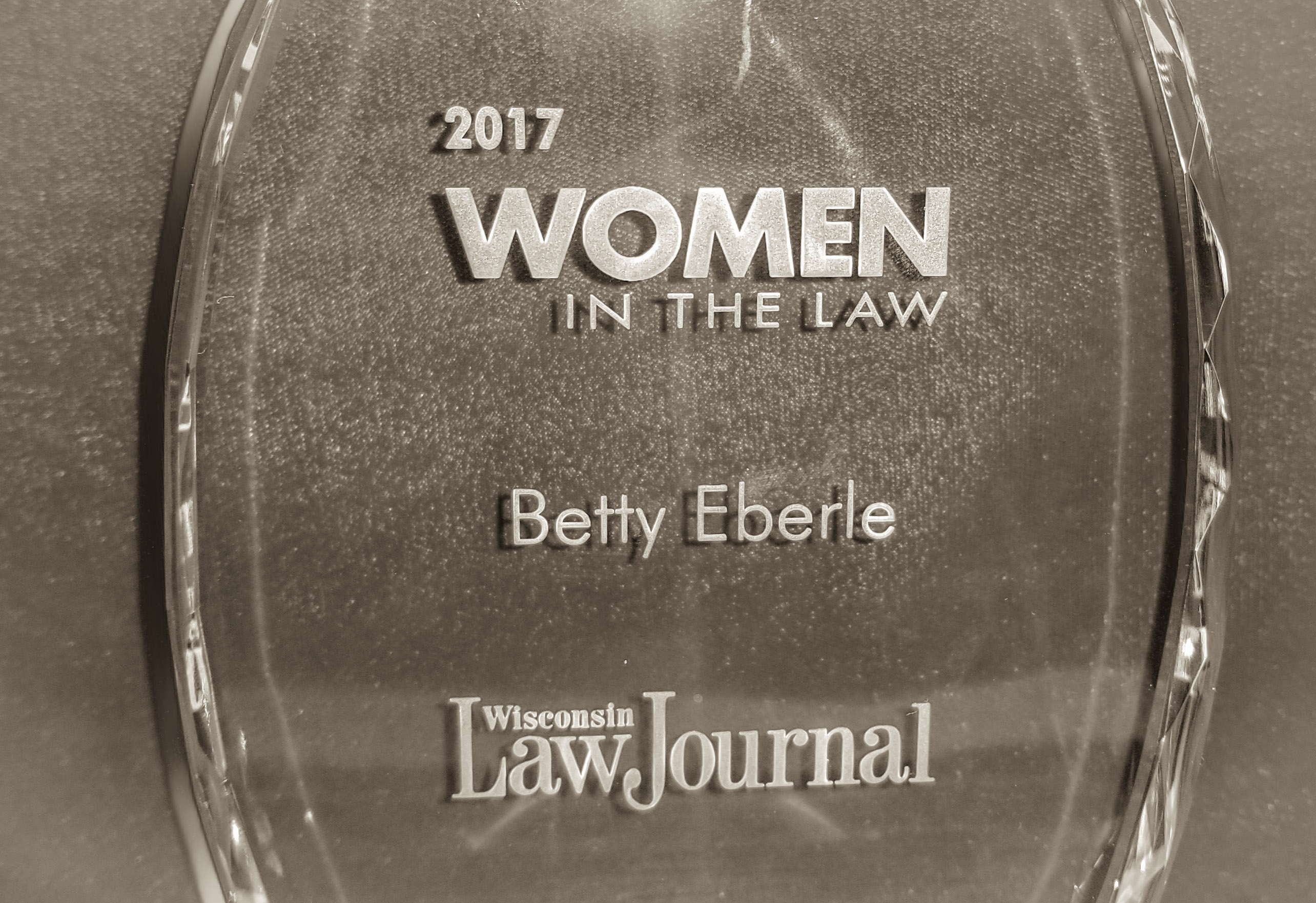 Betty Eberle Receives 2017 Women in the Law Award