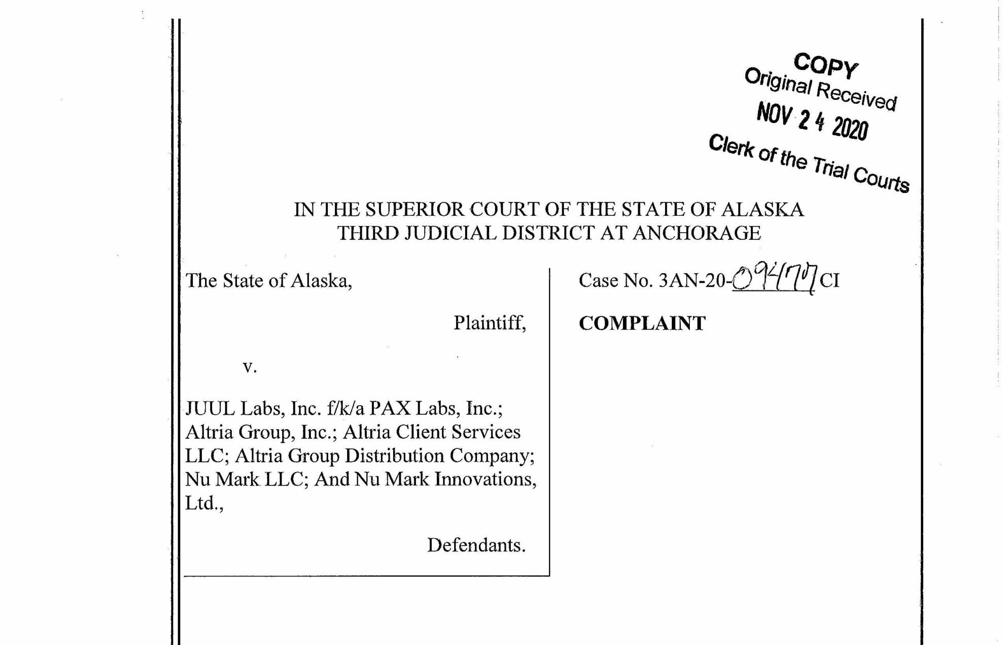 MBG Serving as Outside Counsel in Alaska E-Cigarette Litigation